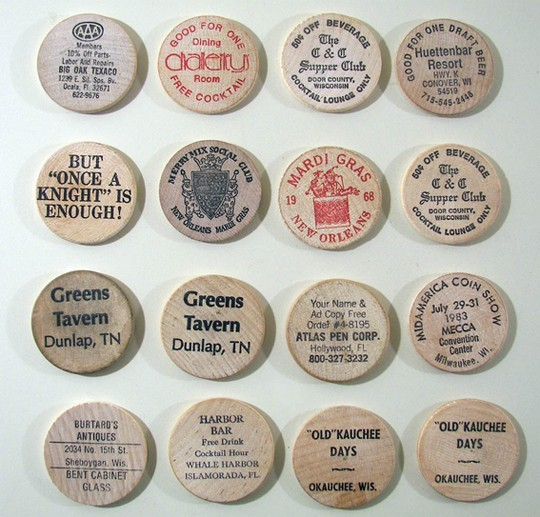 16 Different Wooden Nickels From Wisconsin Bars Beer