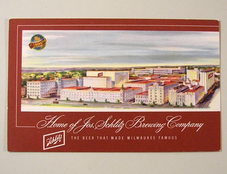 1949 Schlitz Factory Scene Post Card Beer