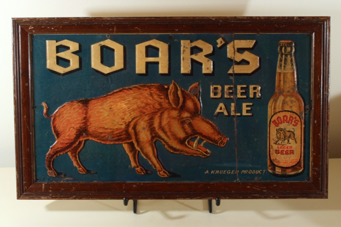 Boar's Beer & Ale Embossed Tin Sign Beer