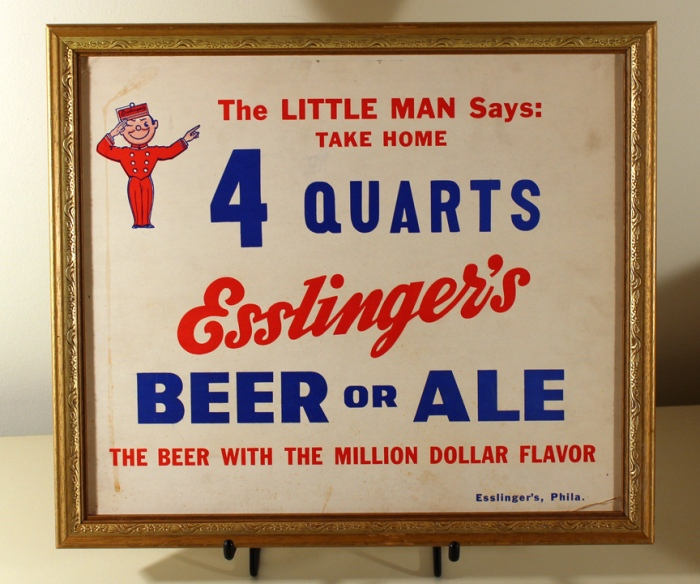 "Esslinger's ""4 Quarts"" Framed Cardboard Sign Beer"