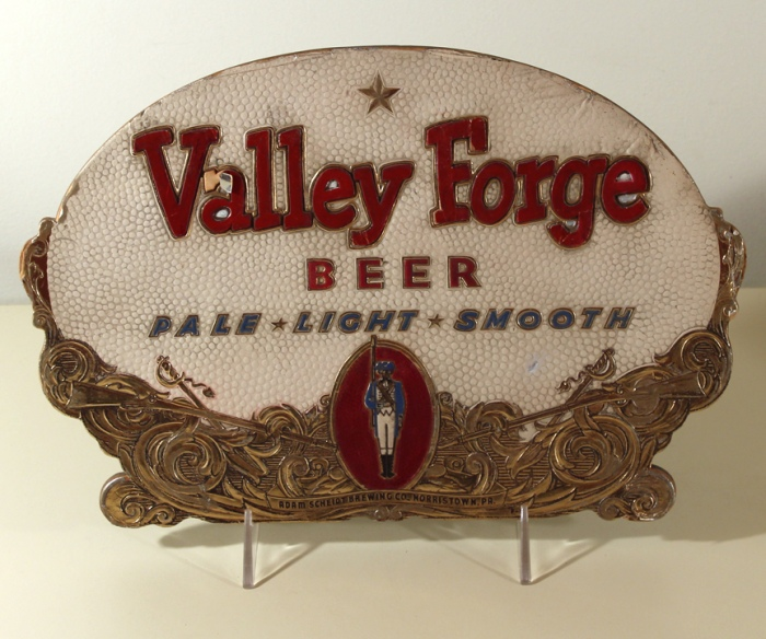 Valley Forge Beer Die-Cut Embossed Foil Sign Beer