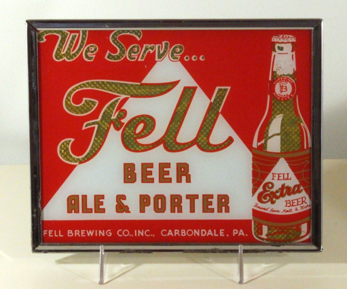 Fell Beer Ale & Porter Reverse Painted Glass Sign Beer