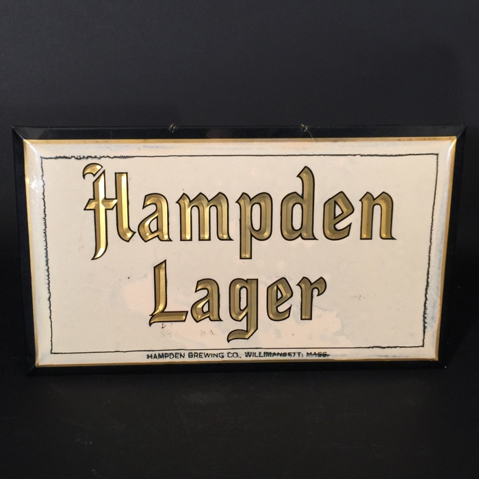 Hampden Lager Celluloid Over Cardboard Sign Beer
