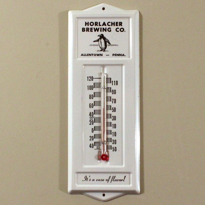 Horlacher Brewing Co. Tin Thermometer Beer