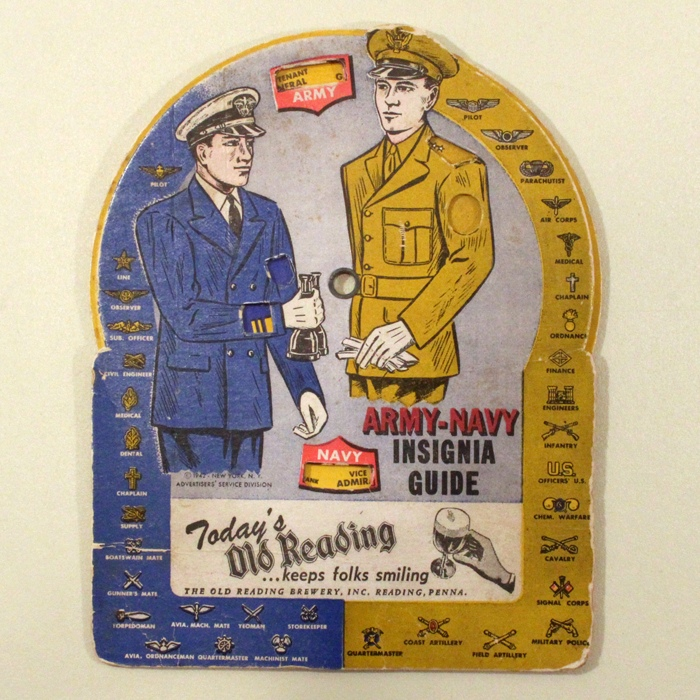 Old Reading Beer Army Navy Insignia Guide Beer