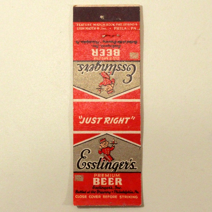 "Esslinger's Premium Beer ""Just Right"" Match Cover Beer"