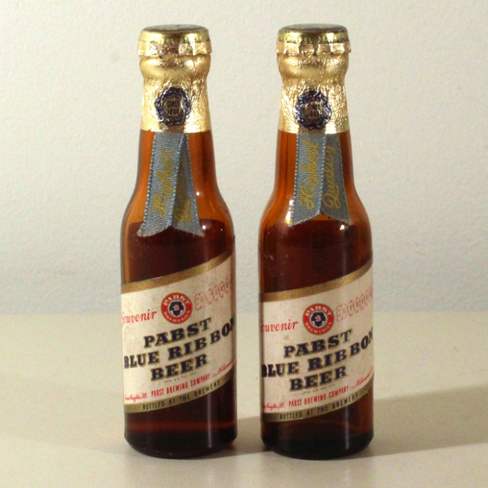 Pabst Blue Ribbon Beer Set of 2 Mini Bottles Beer