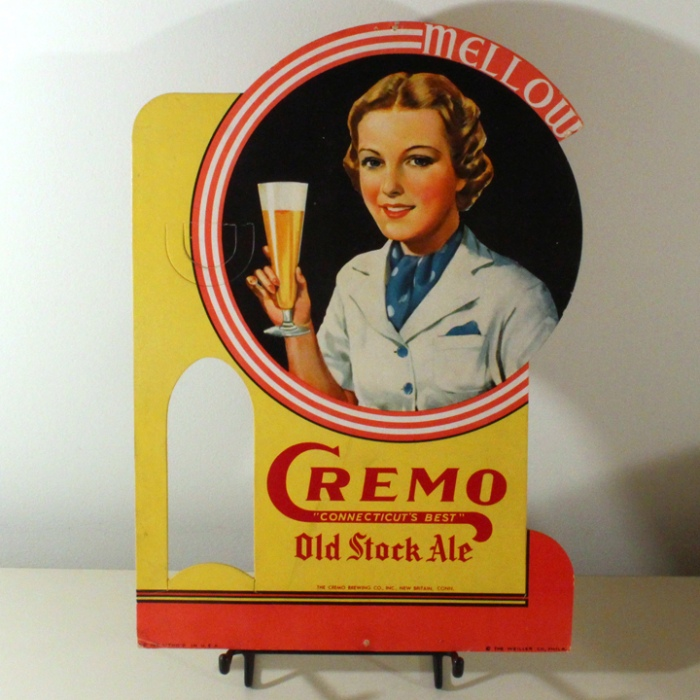 Cremo Old Stock Ale Bottle Topper Sign with Woman Beer