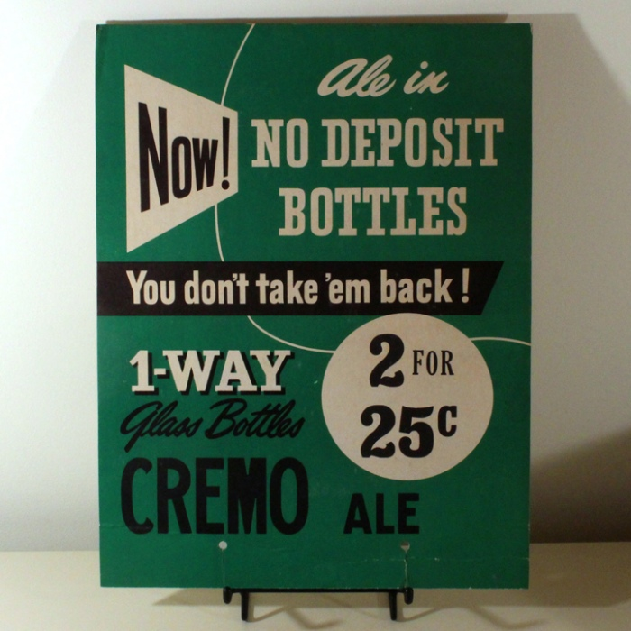 Cremo Ale No Deposit Bottles Cardboard Sign Beer
