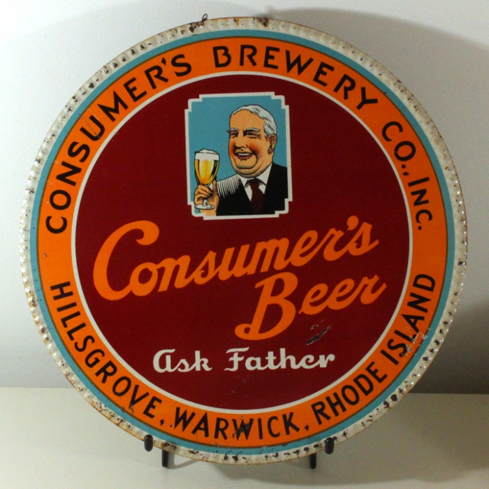"Consumer's Beer ""Ask Father"" Tin Charger Sign Beer"
