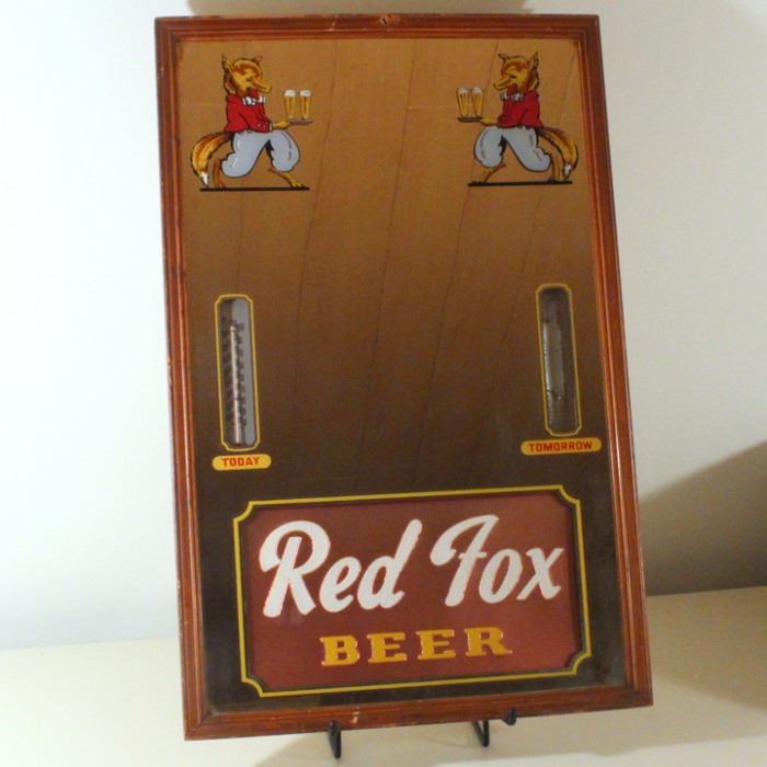 Red Fox Beer Mirror with Thermometer & Barometer Beer