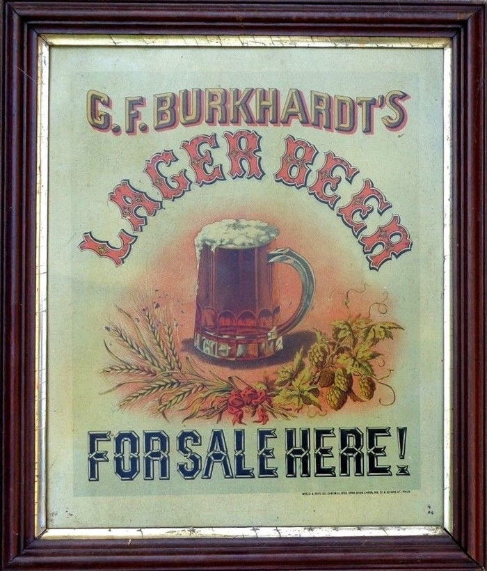 G.F. Burkhardt's Lager Beer For Sale Here! Tin Sign Beer