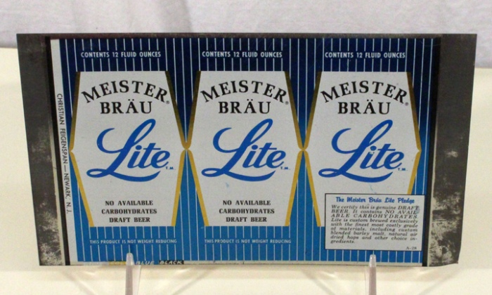 Meister Brau Lite Beer (Newark) 088-08 (Flat Sheet) Beer