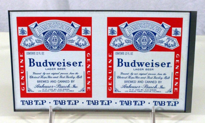 "Budweiser Lager Beer ""Tab Top"" 048-19 (Glued Seam Flat Sheet) Beer"