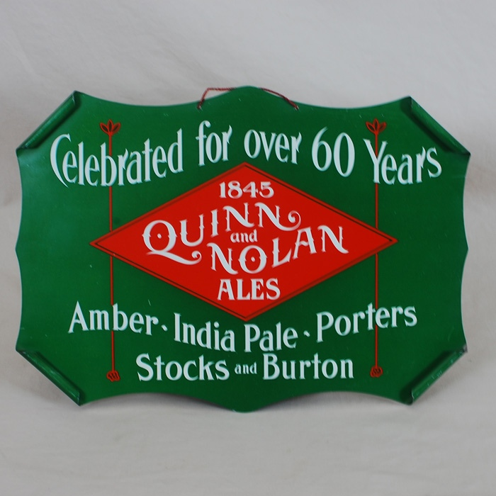 Quinn & Nolan Tin Diecut Sign Beer