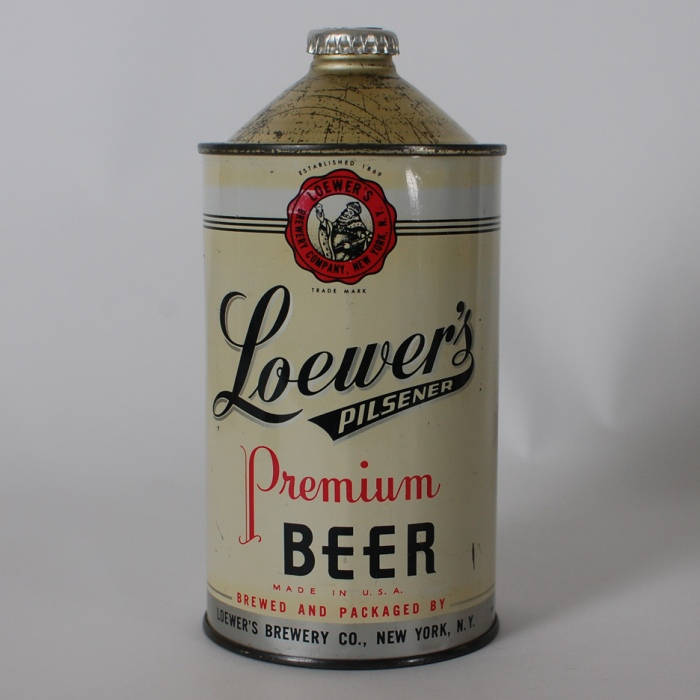 Loewer's Pilsener Quart Cone Beer Can Beer