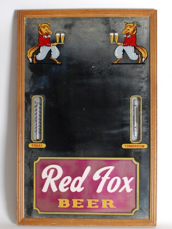 Red Fox Beer Thermometer Barometer Beer
