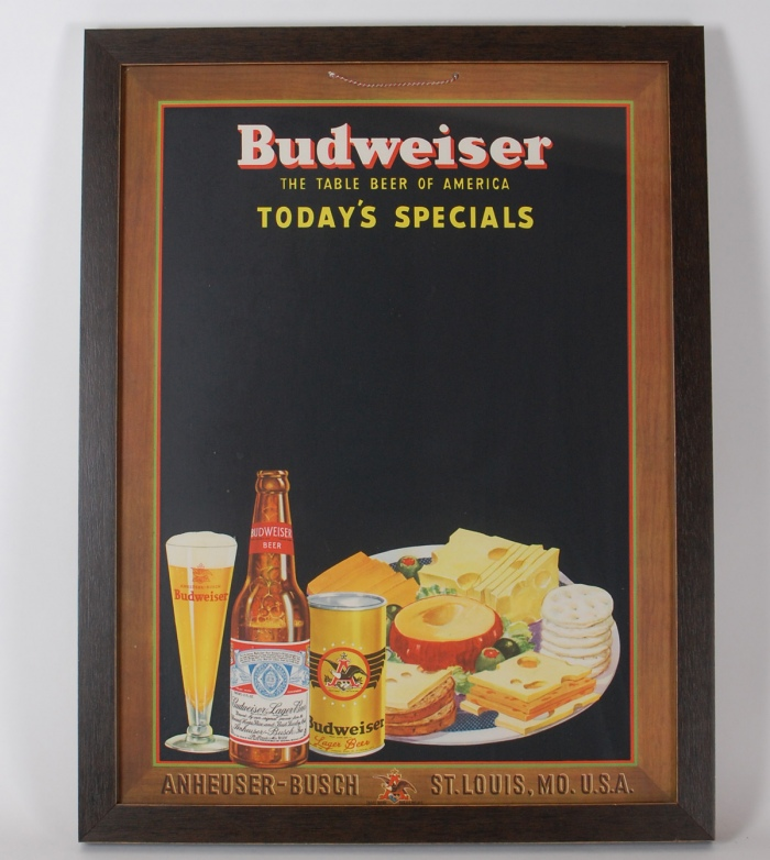 Budweiser Today's Specials Beer Can Sign Beer
