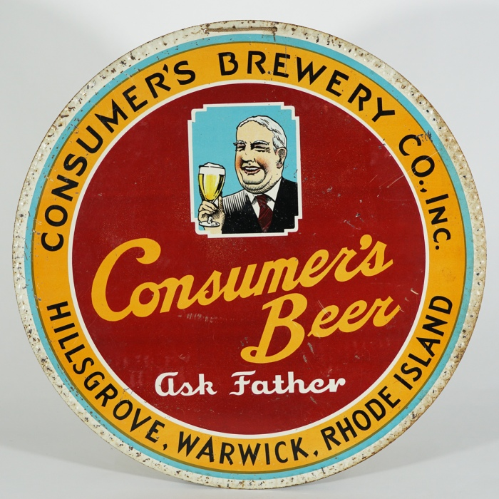 Consumer's Beer Ask Father Tin Sign Beer