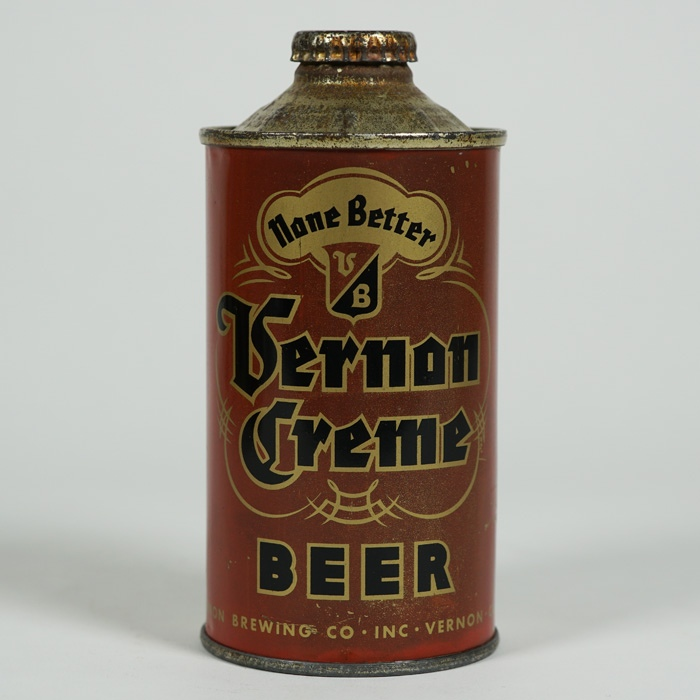 Vernon Creme Beer Cone Top Can 188-17 Beer