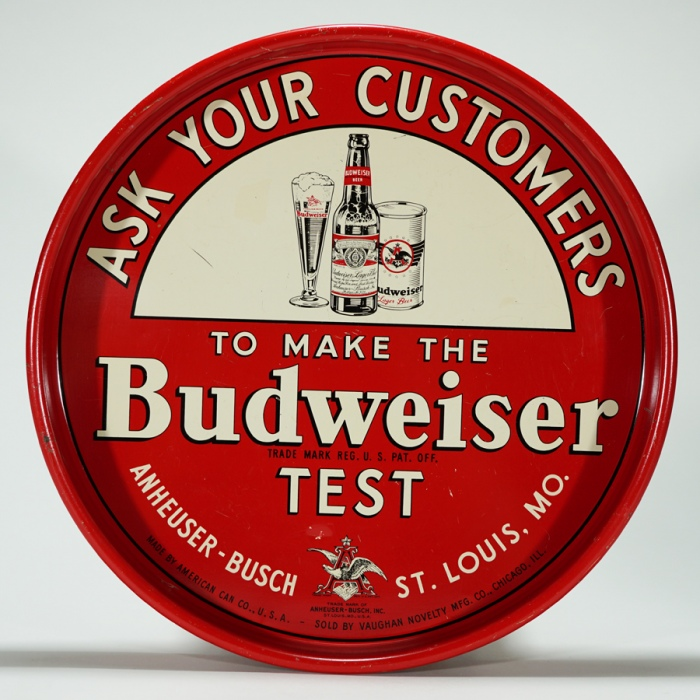 Budweiser Test VAUGHAN Tray Beer