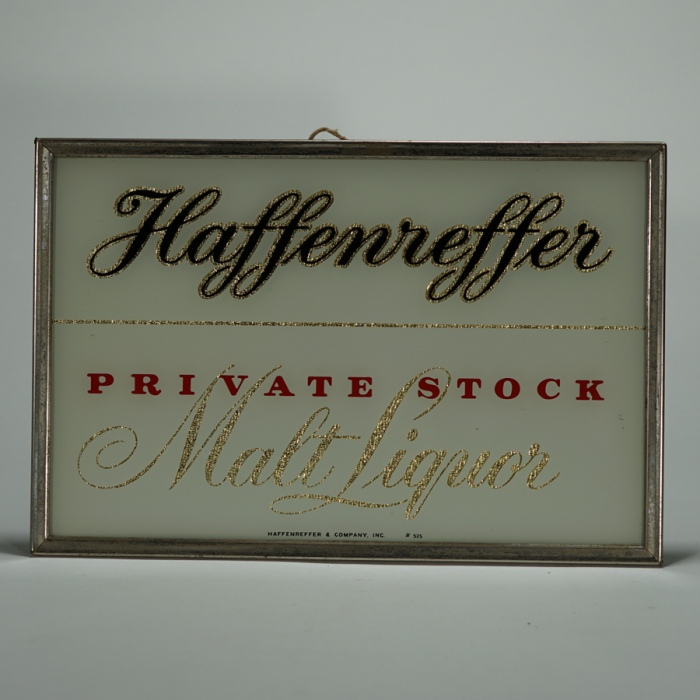 Haffenreffer Private Stock Malt Liquor RPG Sign Beer