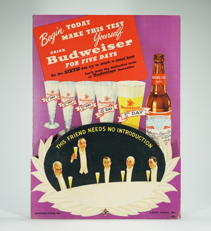 Anheuser-Busch 5 Day Test 3D Diecut Sign Beer