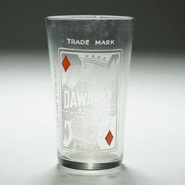 Dawson's King of Diamonds Playing Card NARROW Etched Glass Beer