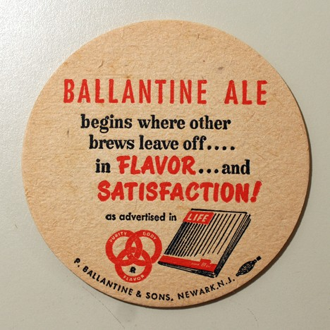 "Ballantine Ale - ""Begins Where Other Brews Leave Off..."" Beer"