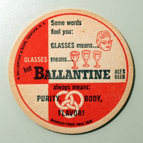 Ballantine Ale & Beer - Glasses (No Union Label) Beer