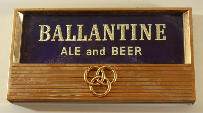 Ballantine Ale & Beer Glass and Metal Plaque Beer