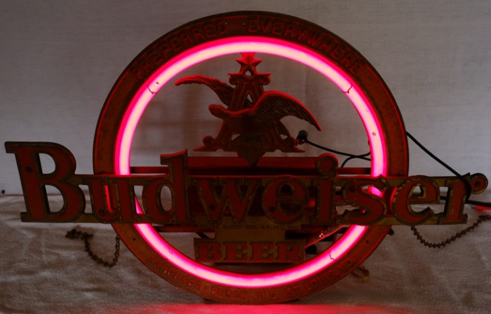 Budweiser Cast Metal Neon Beer