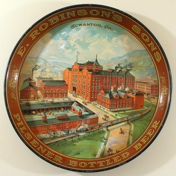 E. Robinson's Sons - Scranton, PA - Round Factory Tray Beer