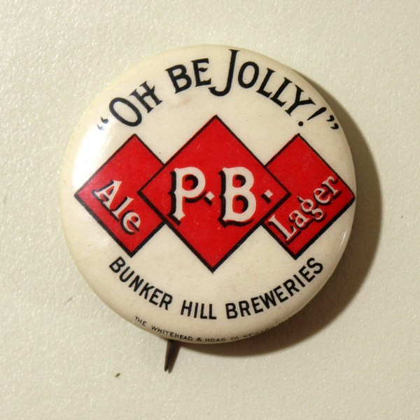 "P.B. Ale - Lager ""Oh Be Jolly!"" Celluloid Pinback Beer"