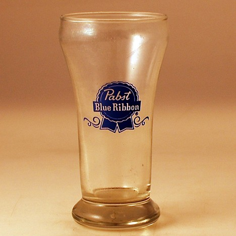 Pabst Blue Ribbon Blue Print Glass Beer