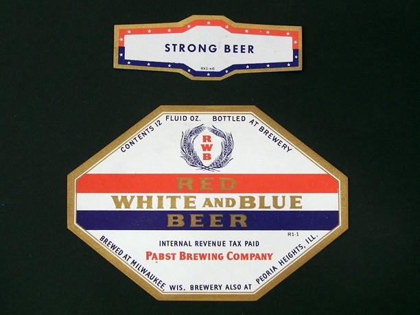 Red White & Blue Beer With Neck Label Beer