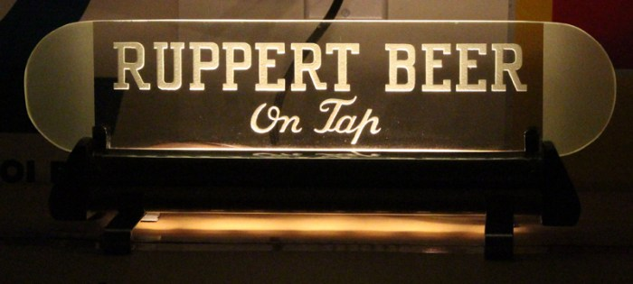 Ruppert Beer On Tap Etched Glass Back Bar Sign Beer