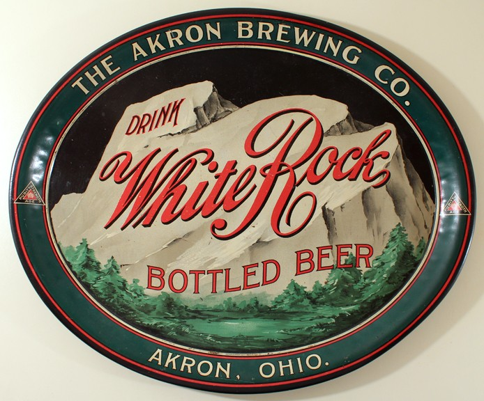 White Rock Bottled Beer - Akron Brewing Co. Oval Tray Beer