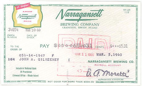 Narragansett Business Check Beer