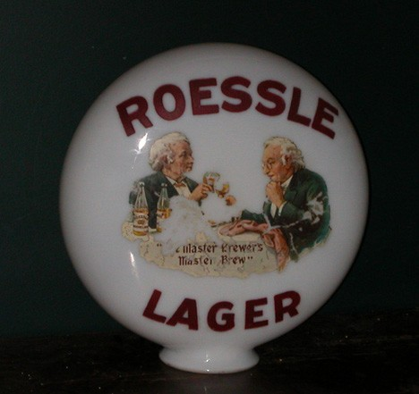 Roessle Lager Advertising Globe Beer