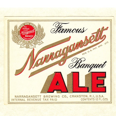 Narragansett Banquet Ale Beer Label Red/Gold Beer