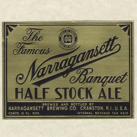 Narraganset Banquet Half Stock Ale Beer Label Gold Foil Beer