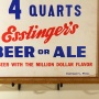 "Esslinger's ""4 Quarts"" Framed Cardboard Sign Photo 3"
