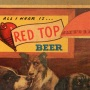 Red Top Beer Hanging Cardboard Sign with Dogs Photo 4