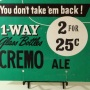 Cremo Ale No Deposit Bottles Cardboard Sign Photo 3