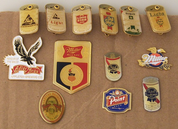 13 Different Enamel on Metal Beer Pins Beer