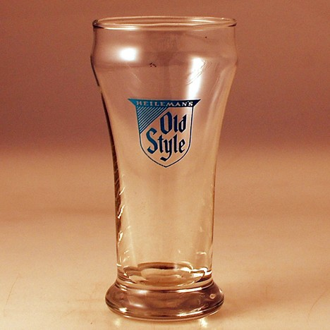 Heileman's Old Style Blue Print Glass 1 Beer