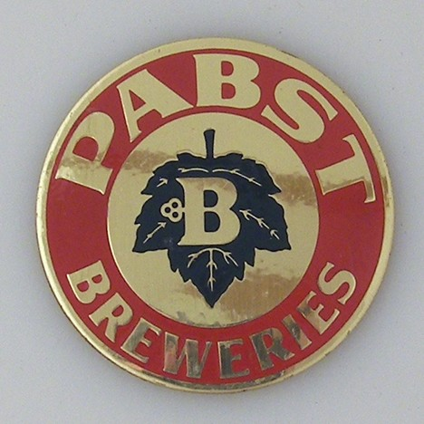 Pabst Breweries Ball Knob Insert - Brass & Enamel Painted Beer