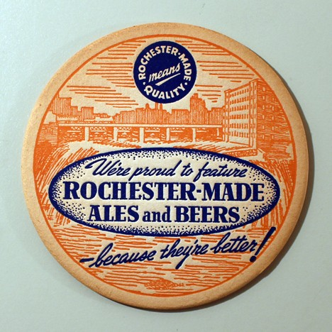 "Rochester-Made Ales & Beers ""Because They're Better!"" Rust/Blue Beer"